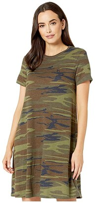 Alternative Eco-Jersey Printed Flare T-Shirt Dress (Camo) Women's Dress