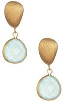 Rivka Friedman 18K Gold Clad Faceted Caribbean Blue Quartzite Teardrop Satin Pebble Post Earrings