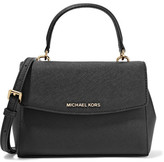 MICHAEL Michael Kors Ava Mini Textured-leather Shoulder Bag - Black