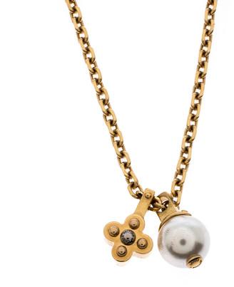 Louis Vuitton Damier Monogram Faux Pearl Gold Tone Chain Link Necklace