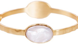 Christina Greene Deco Twin Stone Bangle In Pearl