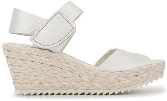 Pedro Garcia Open Toe Wedge Raffia Sandals