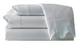 Belle Epoque 300 Tc Scalloped Embroidered Sheet Set, Full Bedding