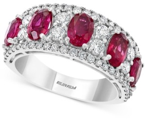 Effy Certified Ruby (2-1/2 ct. t.w.) & Diamond (1 ct. t.w.) Ring in 14k White Gold