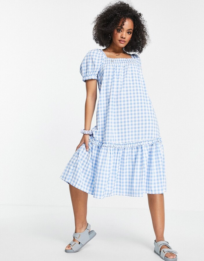 Thumbnail for your product : Qed London square neck midi smock dress in blue gingham