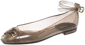 Fendi Grey Jelly Peep Toe Ankle Strap Ballet Flats Size 38