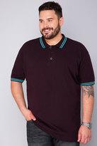 Yours Clothing BadRhino Dark Purple Short Sleeved Polo Shirt - TALL
