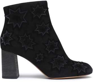 Chloé Flocked Suede Ankle Boots