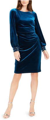 Jessica Howard Petite Velvet Embellished-Cuff Dress