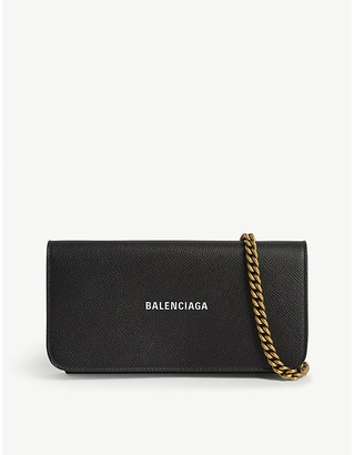 Balenciaga Logo grained leather wallet-on-chain