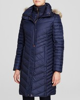 Andrew Marc Kendall Fur Trim Chevron Puffer Coat