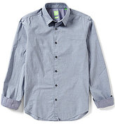 HUGO BOSS BOSS Green Bustai Dobby Check Long-Sleeve Woven Shirt