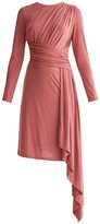 Paisie Jersey Dress With Ruched Detail & Side Skirt Drape In Coral