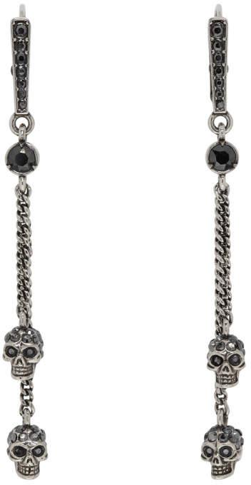 Alexander McQueen Silver Chain Skull Earrings