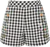 Topshop Embroidered Gingham Shorts