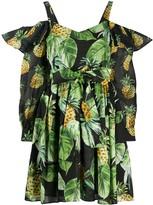 Twin-Set Pineapple Print Cut-Out Shoulder Dress