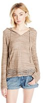 It's Our Time Juniors Long Bell Sleeve Hoodie Pullover W Pointelle Hem