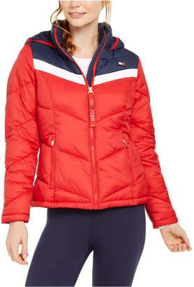 Tommy Hilfiger Varsity Chevron Hooded Puffer Jacket