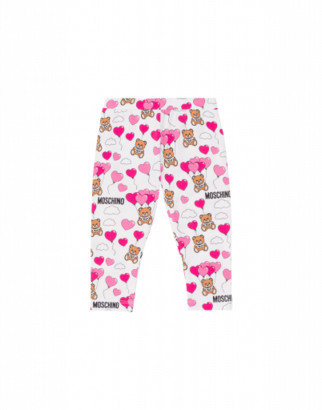 Moschino Heart Balloons Teddy Bear Leggings Unisex White Size 3/6m