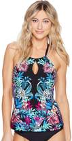 Kenneth Cole Tropical Tendencies High Neck Keyhole Tankini Top w/ Tummy Toner