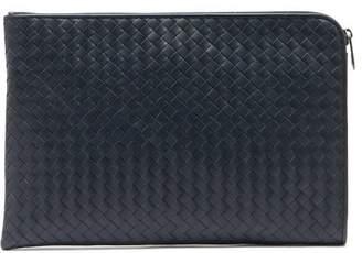 Bottega Veneta Intrecciato Leather Document Holder - Mens - Navy