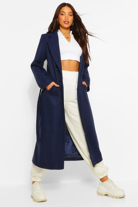 boohoo Tall Double Breasted Wool Look Longline Coat