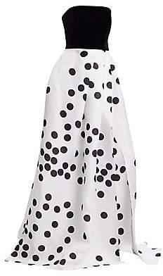 Monique Lhuillier Women's Strapless Velvet Polka Dot Gown