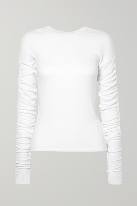 Veronica Beard Clement Ruched Ribbed Stretch-modal Top - White
