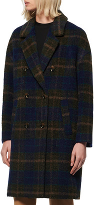 Andrew Marc Double Breasted Plaid Coat
