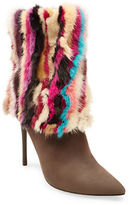 Brian Atwood Herman Suede and Mink Fur Booties