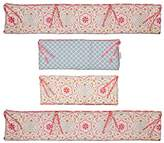 Farallon Brands Mila 4 Piece Coral and Blue Floral and Ogee Crib Bumper by Peanut Shell by The Peanut Shell