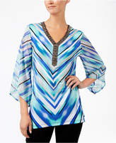 JM Collection Petite Printed Chiffon-Sleeve Top, Only at Macy's