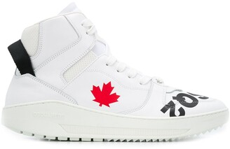 DSQUARED2 Logo-Print High-Top Trainers