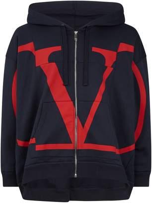 Valentino Zip-Up Logo Hoodie