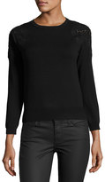 Catherine Malandrino Crewneck Sweater with Lace Trim, Black