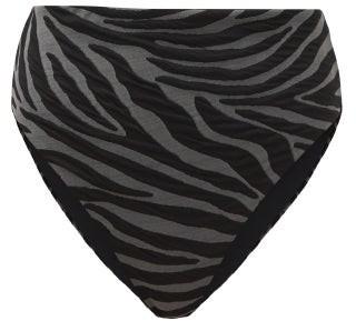 Mara Hoffman Imina Zebra-jacquard Recycled-fibre Bikini Briefs - Black Grey