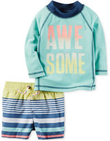 Carter's 2-Pc. Awesome Rashguard & Striped Swim Trunks Set, Baby Boy (0-24 Months)
