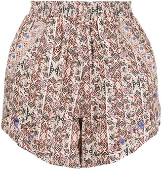 Nicole Miller Partridge stripe embroidered shorts