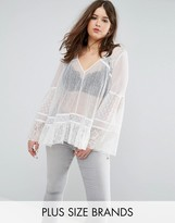 Religion Plus Sheer Lace Prairie Blouse With Frill Sleeve And Hem