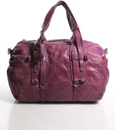 Theory Purple Pink Leather Silver Tone Hardware Double Handle Shoulder Handbag