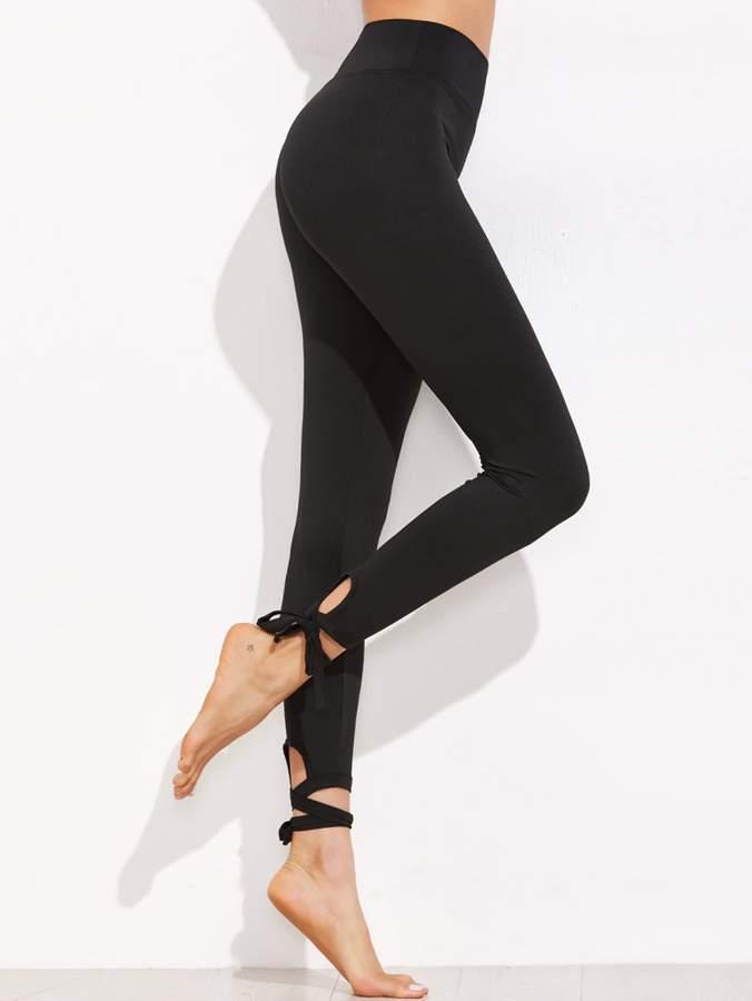 81ec878114cfe Black Lace Up Leggings - ShopStyle