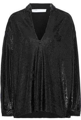 IRO Great Oversized Sequined Stretch-jersey Blouse