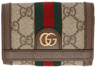 Gucci Brown and Beige GG Ophidia Flap Wallet