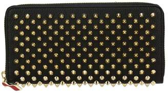 Christian Louboutin Wallet Panettone Empire Spikes Continental Zip Around Wallet In Hammered Leather With Metal Studs