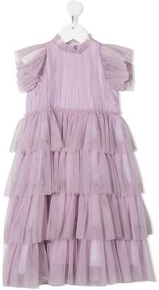 Il Gufo Ruffled High-Neck Dress