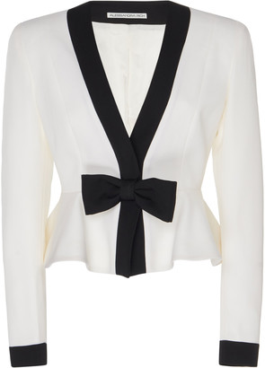 Alessandra Rich Bow-Embellished Two-Tone Peplum Wool Jacket
