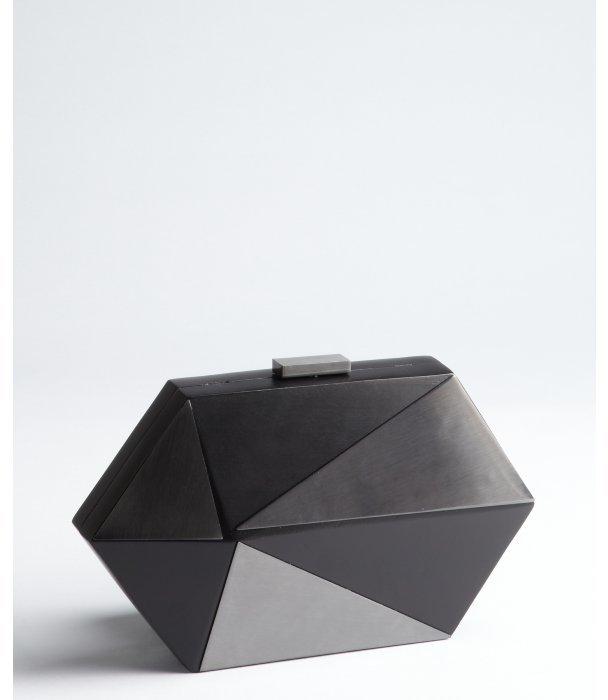Sondra Roberts black geometric wood and gunmetal clutch