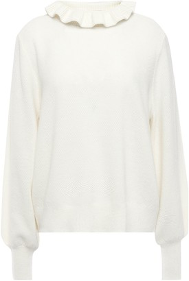 Charli Ruffle-trimmed Textured-knit Sweater