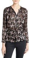 Rebecca Taylor Women's Shadow Floral Burnout Drawstring Blouse