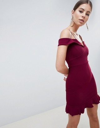 AX Paris Off Shoulder Fitted Dress With Frill Hem